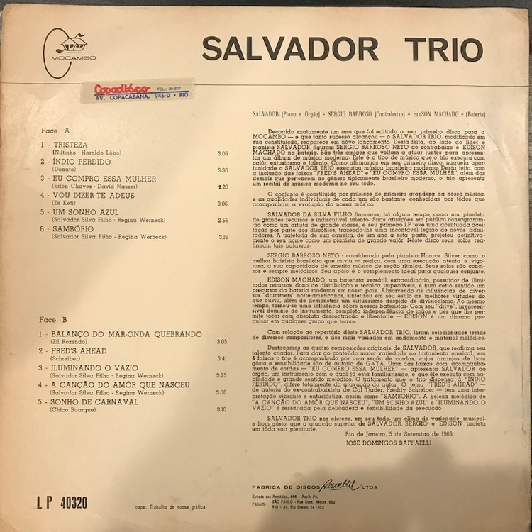 Full salvador trio tristeza back